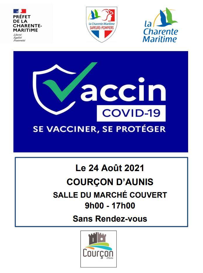 COVID 19 - Centre de vaccination mobile à Courçon. @ Salle du marché